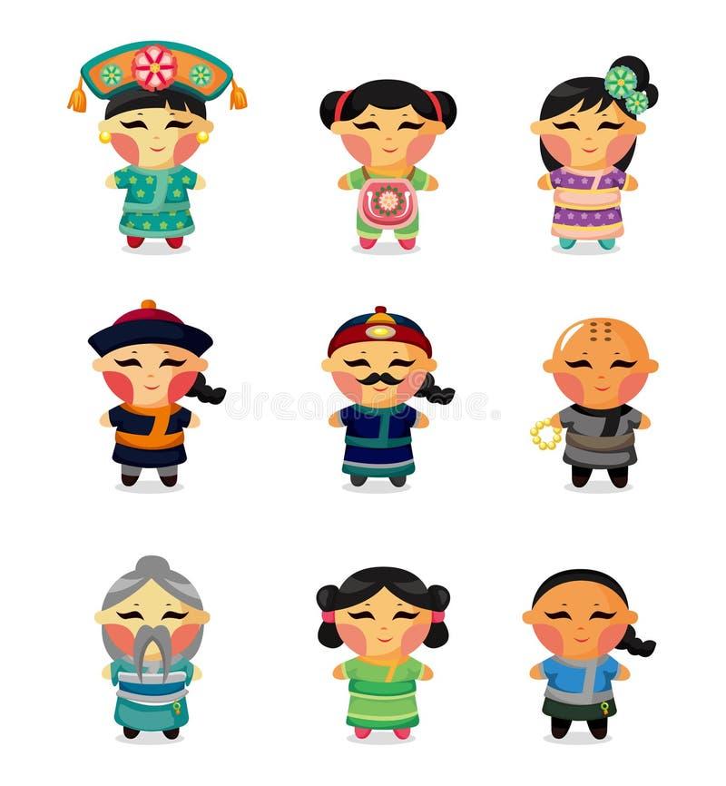 Peuple chinois de positionnement de graphisme de dessin animé illustration stock