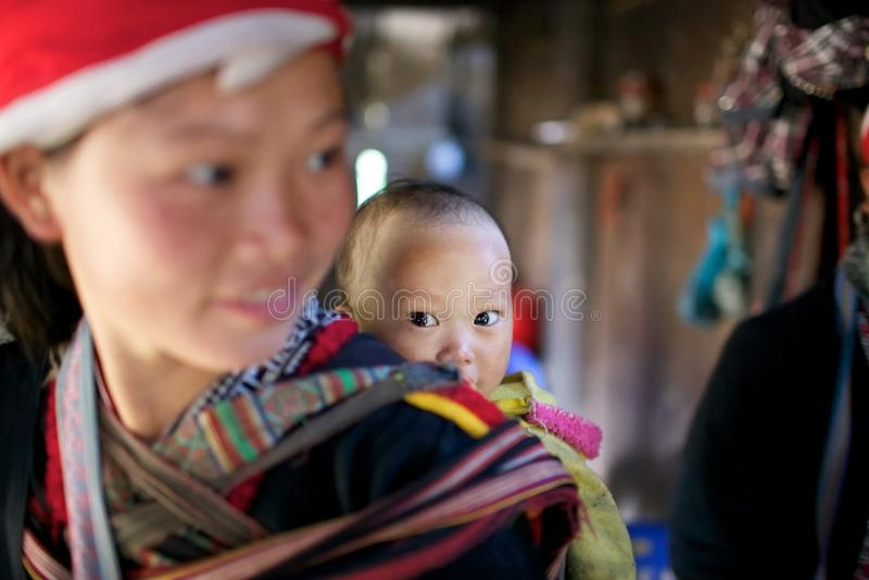 Peuple rouge de minorité de Dao Ehtnic du Vietnam photo libre de droits
