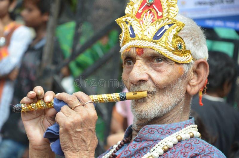 Peuples célébrant Lord Krishna Birthday à Bhopal images libres de droits