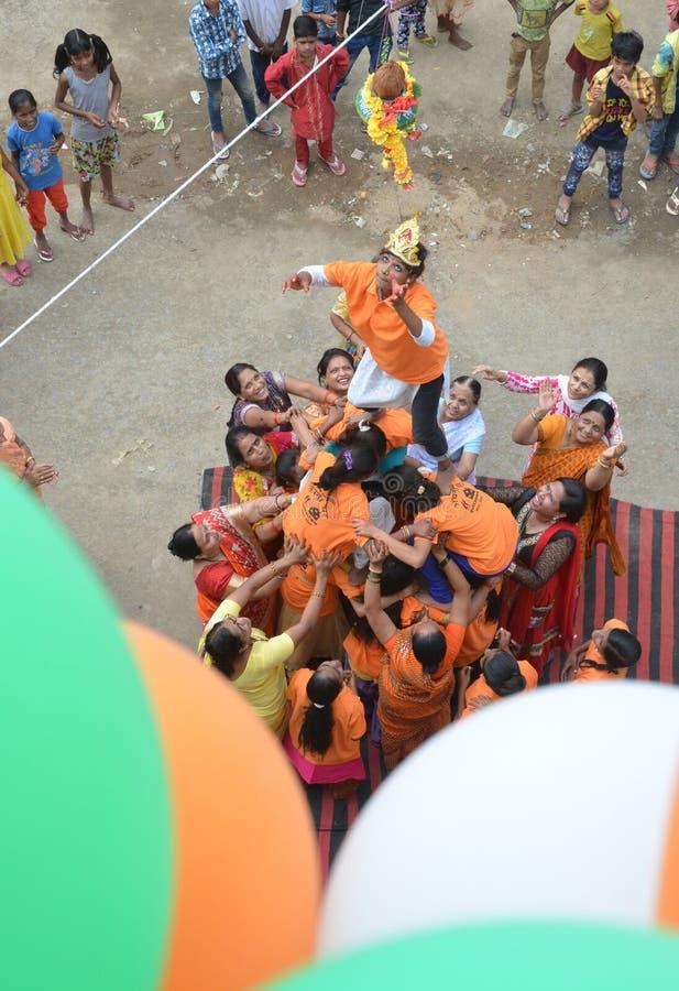 Peuples célébrant Lord Krishna Birthday à Bhopal photo libre de droits