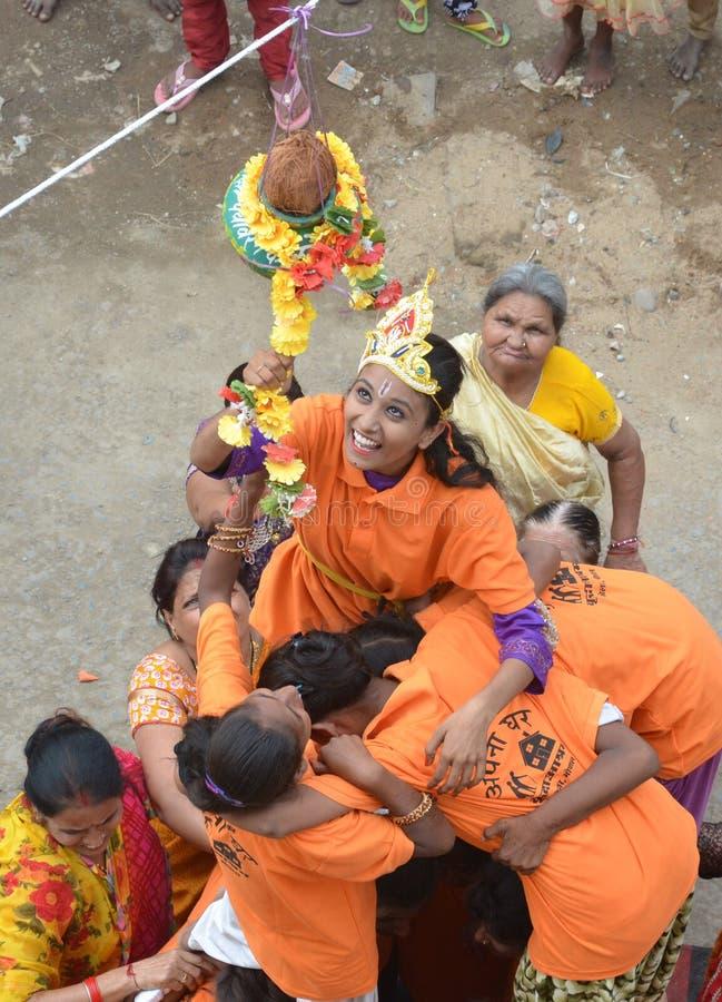 Peuples célébrant Lord Krishna Birthday à Bhopal image libre de droits