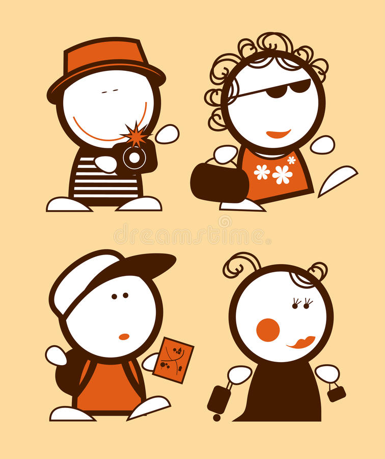 Peuples drôles de touristes. illustration stock
