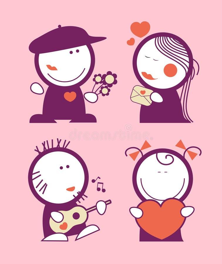 Peuples drôles de Valentine. illustration stock