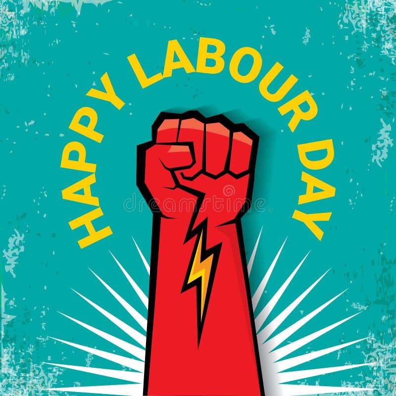 1 peut label heureux de vecteur de jour de travail avec le poing rouge fort sur le fond de torquise fond ou bannière de Fête du t illustration libre de droits