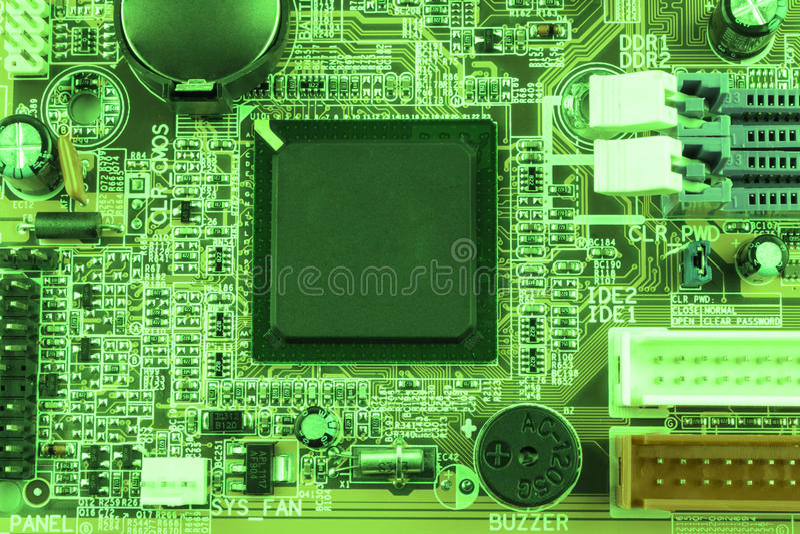 Peut utiliser comme fond Technologie de matériel informatique électronique Puce numérique de carte mère Fond de la science de tec images libres de droits