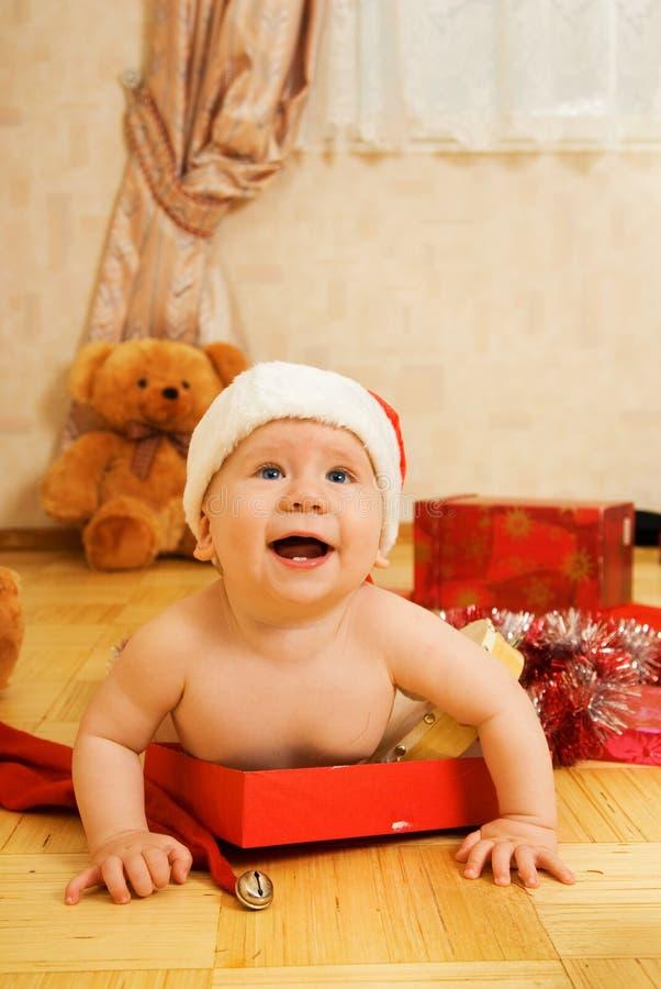 Peuter in de hoed van Kerstmis royalty-vrije stock foto