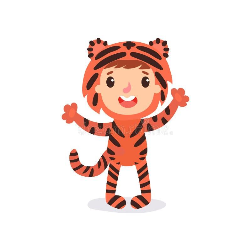 Peuterjong geitje in kleurrijk tijgerkostuum Kind in uitrusting voor fotospruit of Halloween-partij Van het beeldverhaaljongen of vector illustratie