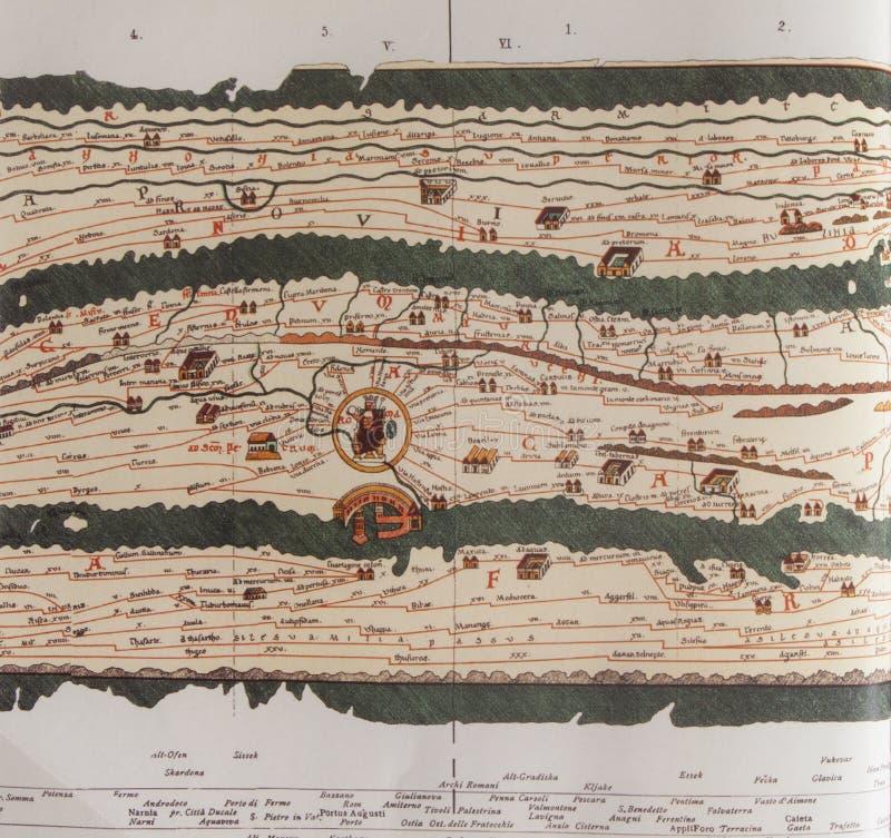 Peutingeriana di Tabula che descrive programma di strada romano antico fotografie stock libere da diritti