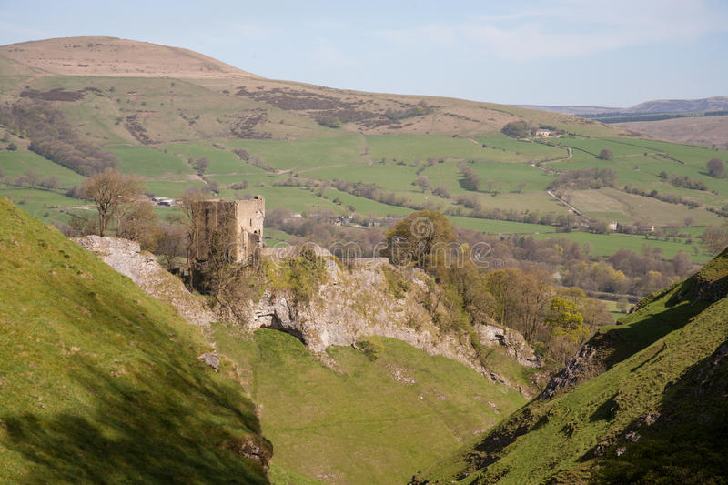 Peveril castle in the Peak District. Peveril Castle above Castleton, in the Peak District, a favourite destination for ramblers and hikers royalty free stock image