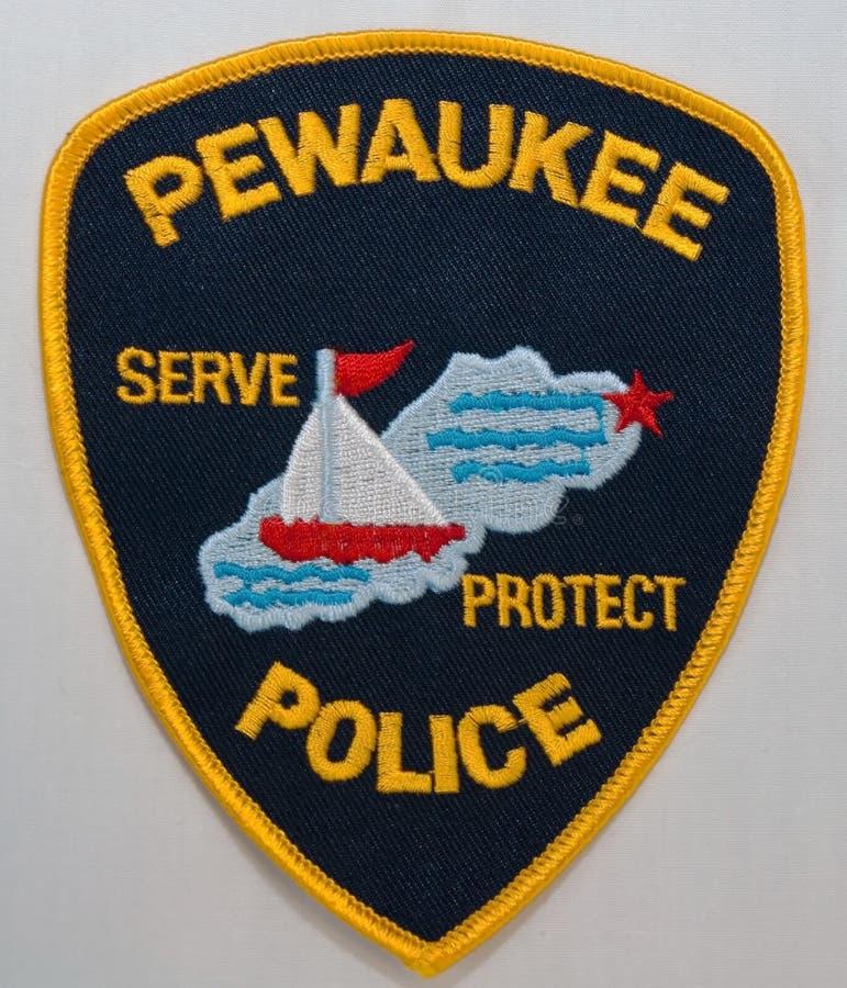 Pewaukee警察局的肩章在威斯康辛 免版税库存图片