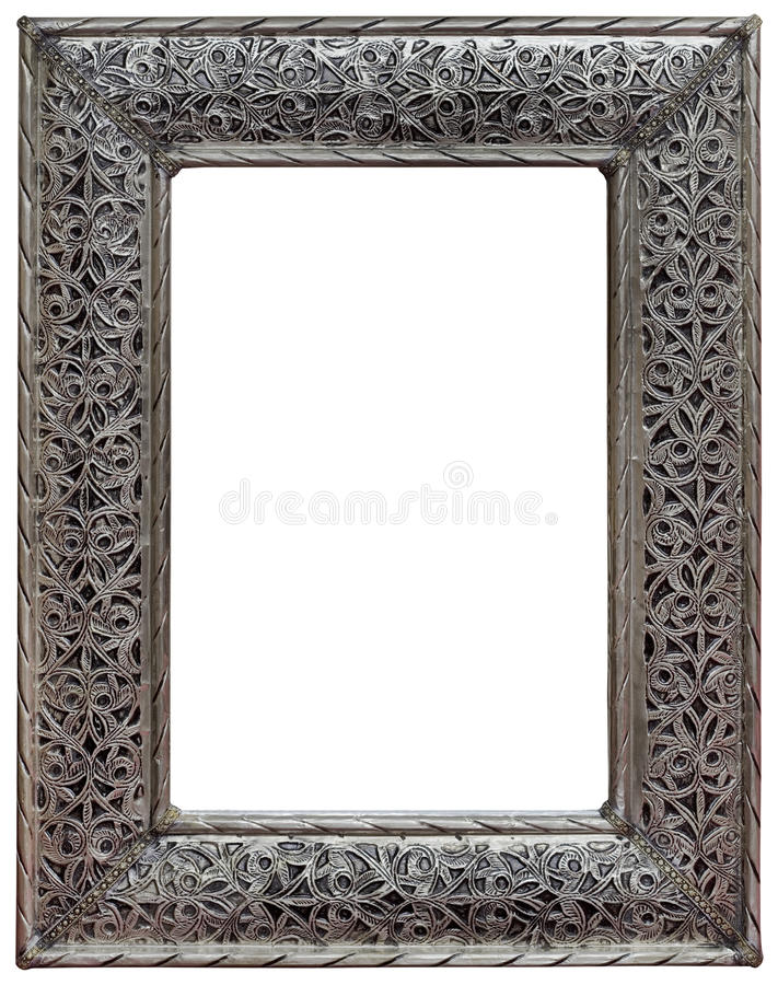Pewter Mirror Frame Cutout. Moroccan Hewed Pewter Mirror Frame Isolated with Clipping Path stock photo