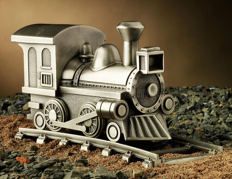 Download A Product Studio Shot Of A Model Steam Engine Train With Track: The Train Is Made Of Pewter And Is Also A Coin Bank. Stock Photos - Image: 29017203