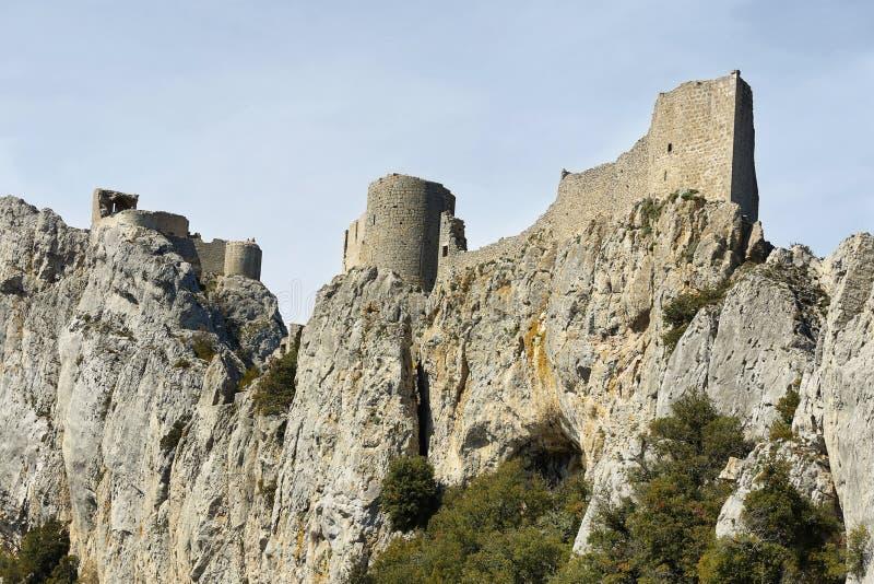 Peyrepertuse卡特里派城堡,法国 库存照片