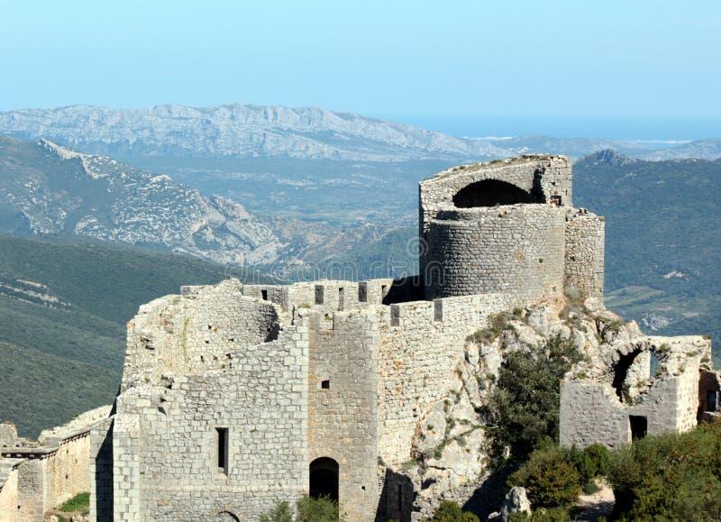 Peyrepertuse : Château de Cathare de paysage image stock