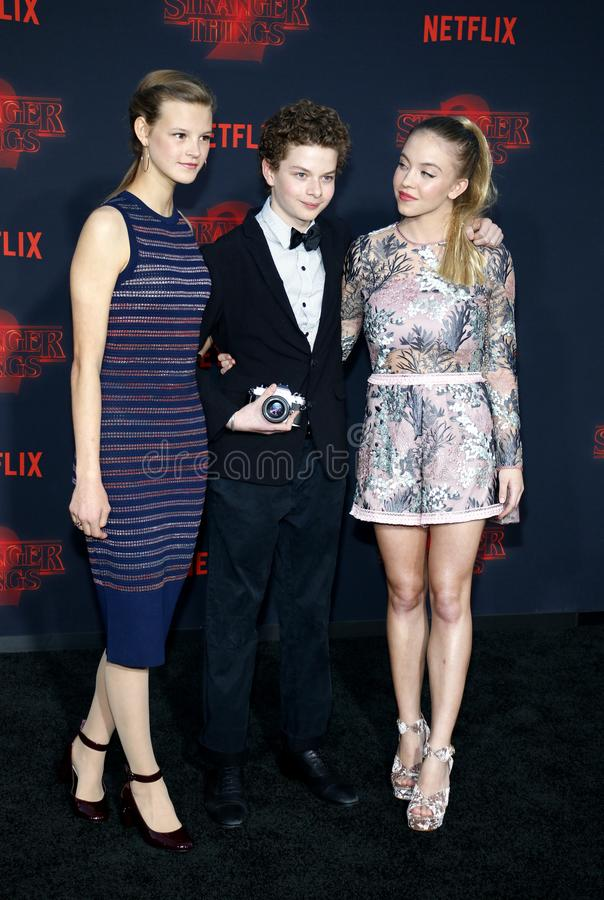 Peyton Kennedy, Quinn Liebling and Sydney Sweeney. At the Netflix`s season 2 premiere of `Stranger Things` held at the Regency Village Theatre in Westwood, USA royalty free stock photos