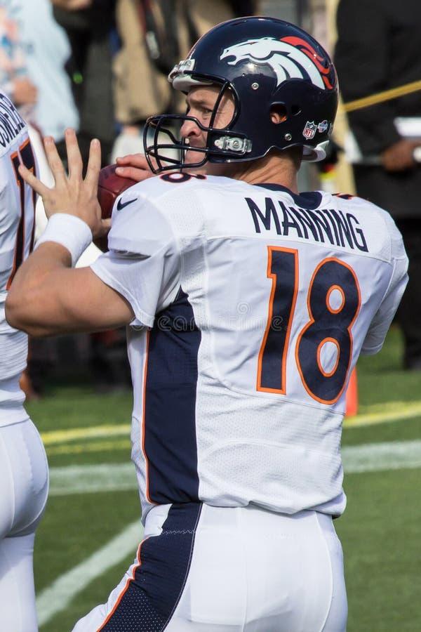 Peyton Manning. This image shows 2013 Denver Broncos quarterback Peyton Manning during pregame warm-ups at Candlestick Park San Francisco on Aug. 8, 2013