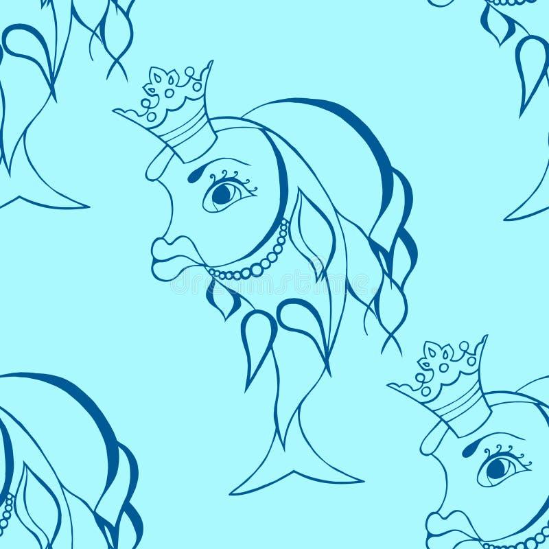 Pez de colores con la corona stock de ilustración