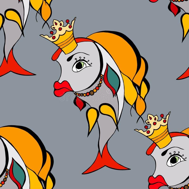 Pez de colores con la corona ilustración del vector