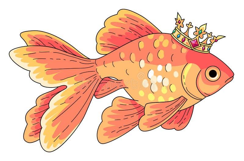 Pez de colores en la corona del oro stock de ilustración