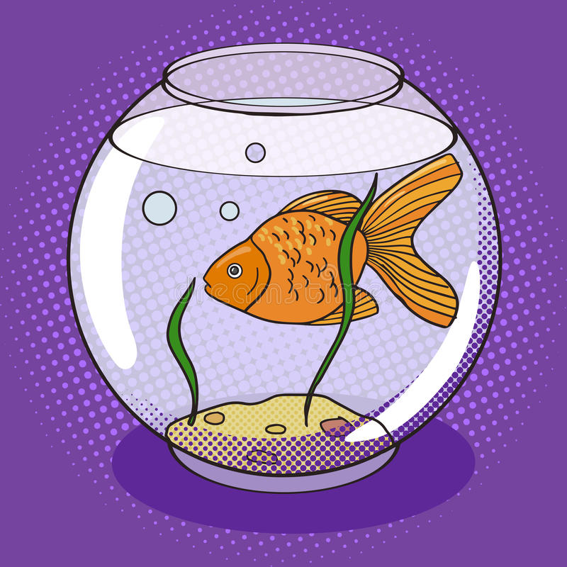 Pez de colores en vector del estilo del arte pop del fishbowl ilustración del vector
