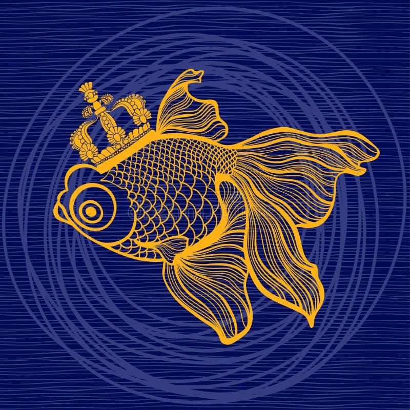 Pez de colores mágico con una corona Ilustración del vector libre illustration
