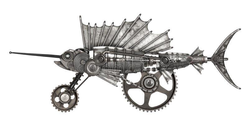 Pez volador del estilo de Steampunk foto de archivo