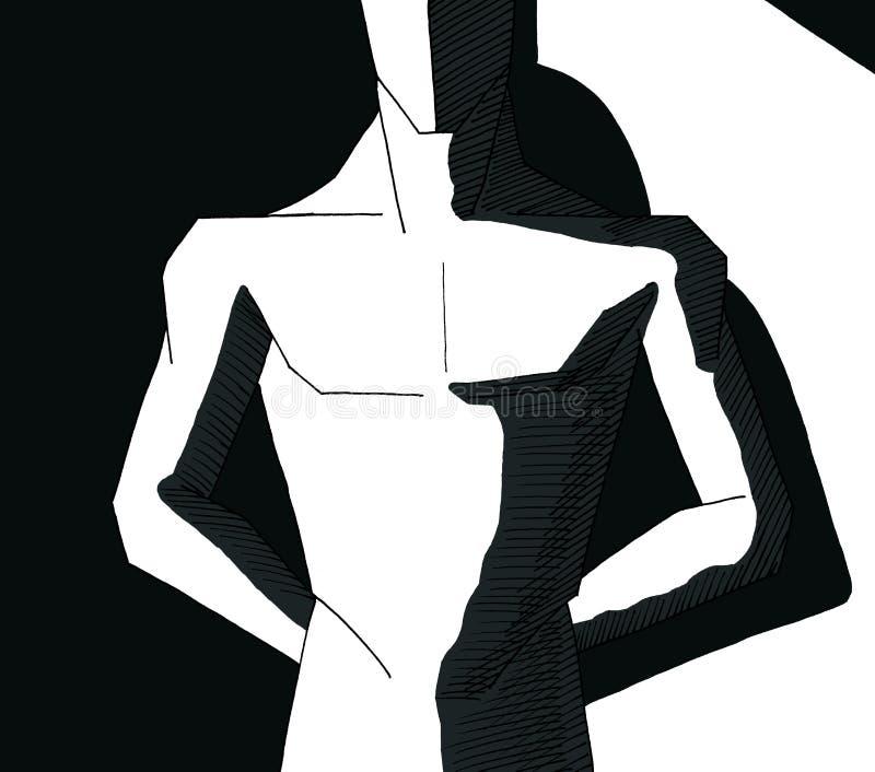 Pezige mens stock illustratie