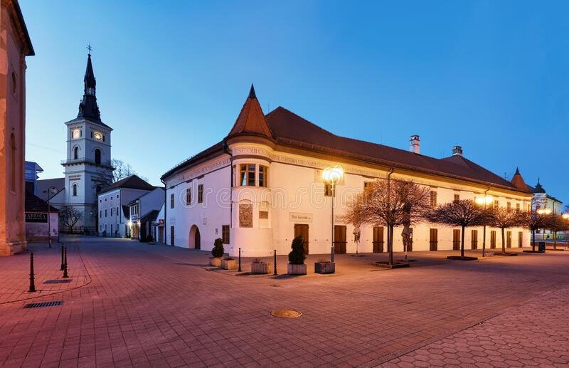 Pezinok city with church in main square, Slovakia royalty free stock photos