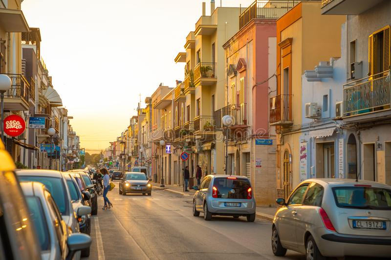 Pezze di Greco, Italy - 6.05.2018: View of small town Pezze di Greco in the south of italy near Bari in Sunset royalty free stock images