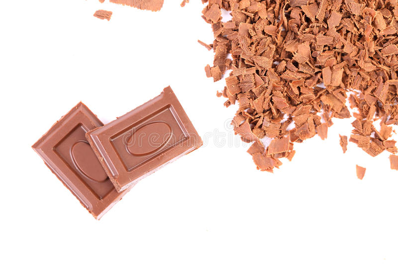 Pezzetto e fette saporiti di choclate. Pagina. fotografie stock libere da diritti