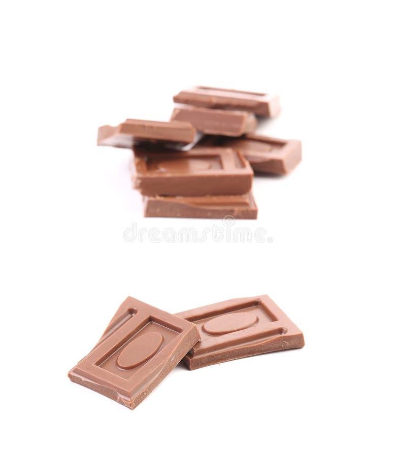 Pezzetto saporito di cioccolato al latte immagini stock