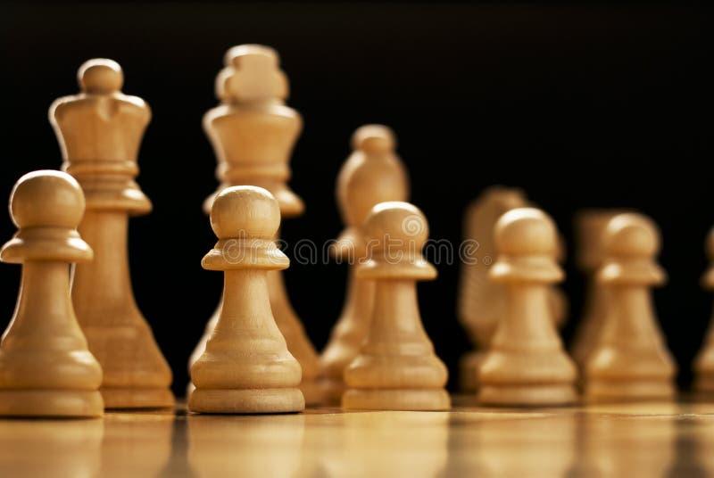 Pezzi degli scacchi allineati su una scacchiera fotografie stock