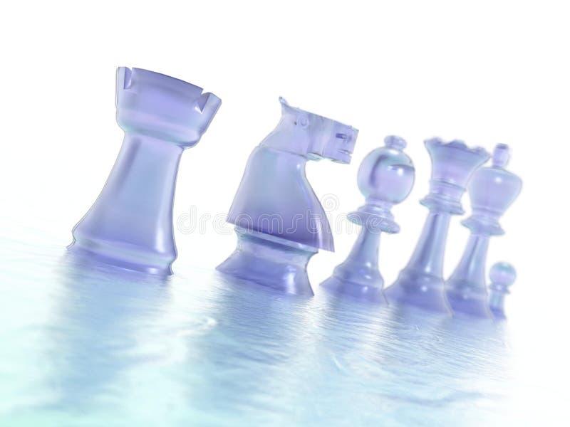 Pezzi degli scacchi blu illustrazione vettoriale