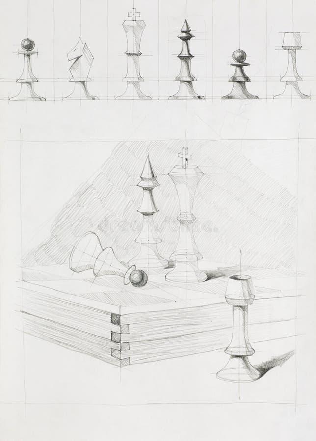Pezzi degli scacchi e bordo royalty illustrazione gratis