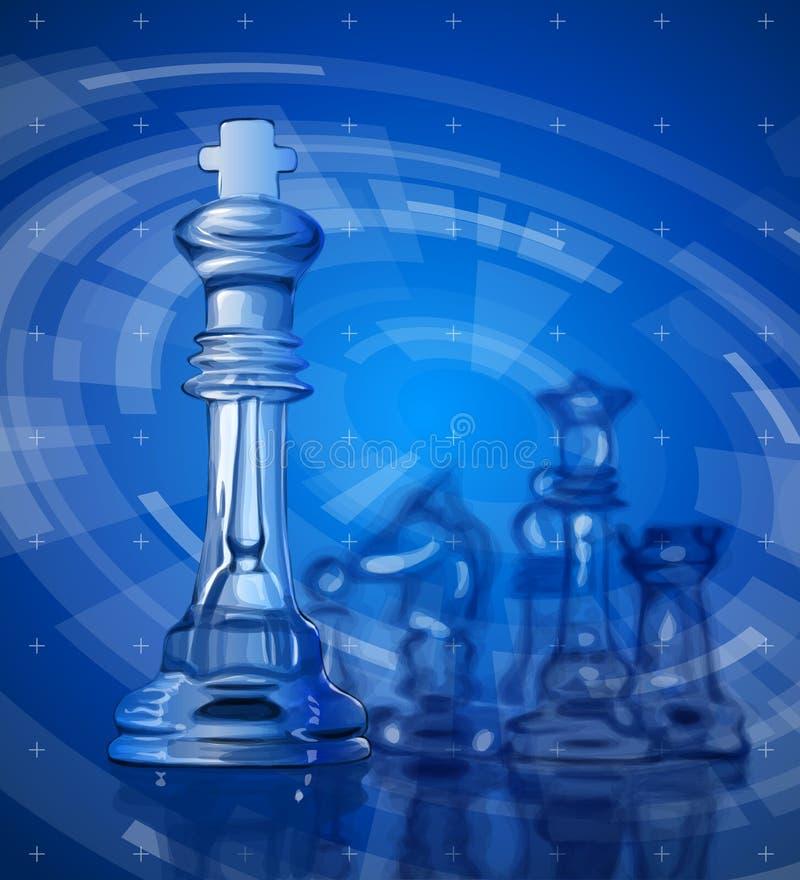 Pezzi degli scacchi & fondo blu di tecnologia illustrazione vettoriale