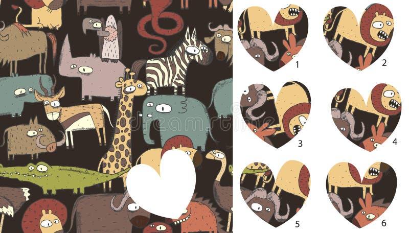 Pezzi della partita degli animali, gioco visivo Soluzione nello strato nascosto! illustrazione vettoriale