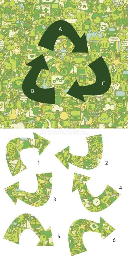 Pezzi della partita di ecologia, gioco visivo Soluzione nello strato nascosto! royalty illustrazione gratis