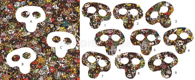 Pezzi della partita di Halloween, gioco visivo Soluzione nello strato nascosto! royalty illustrazione gratis