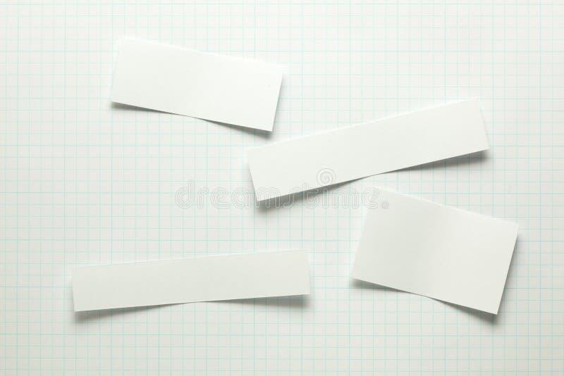 Pezzi di carta in bianco fotografia stock
