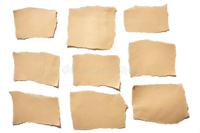 Pezzi di carta della carta marrone reale della raccolta lacerati o strappati nel fondo bianco fotografie stock
