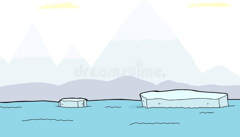 Pezzi di galleggiamento di iceberg royalty illustrazione gratis