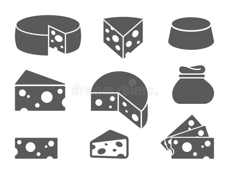 Pezzi di icone del formaggio su fondo bianco Il formaggio differente scrive dentro lo stile piano illustrazione di stock