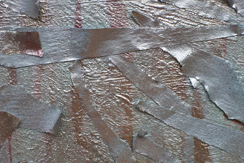 Pezzi di nastro protettivo dipinti con spruzzo d'argento tonalit? metalliche di oro e di argento fotografia stock libera da diritti