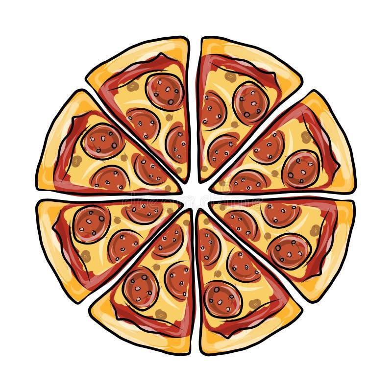 Pezzi di pizza, schizzo per la vostra progettazione illustrazione vettoriale