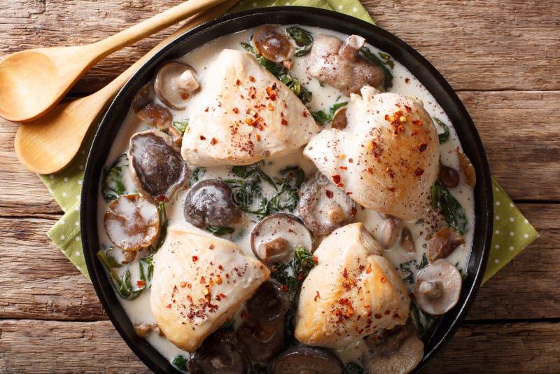 Pezzi di pollo con i funghi e gli spinaci selvatici in un sa cremoso immagine stock libera da diritti