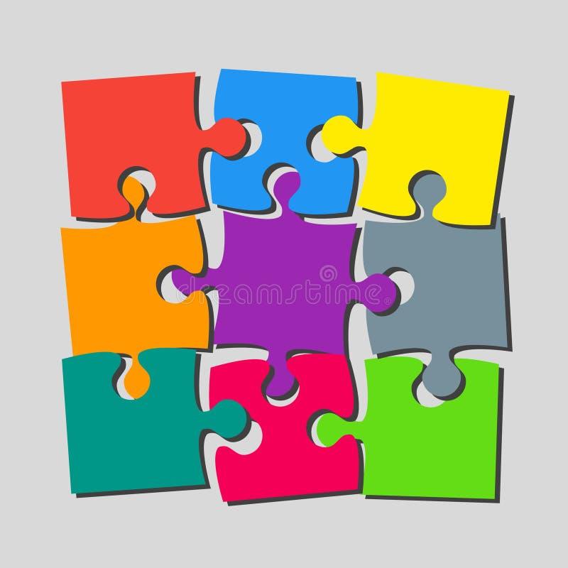 9 pezzi di puzzle dell'insegna dell'insegna di puzzle illustrazione di stock