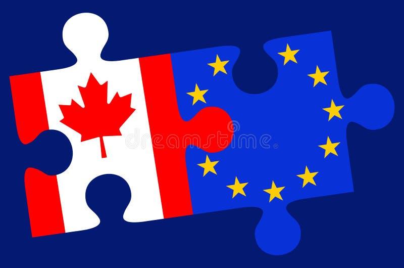 Pezzi di puzzle della bandiera del Canada e di Europa illustrazione di stock