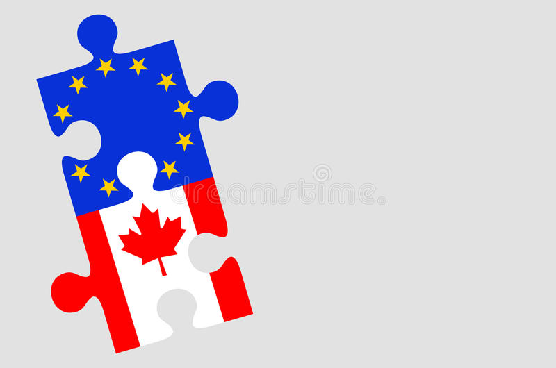 Pezzi di puzzle della bandiera del Canada e di Europa illustrazione vettoriale
