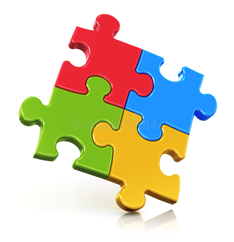 Pezzi di puzzle di colore illustrazione di stock