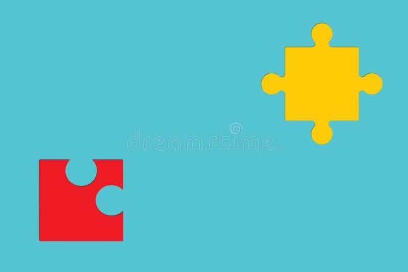 Pezzi di puzzle su fondo variopinto come simbolo di autismo illustrazione di stock